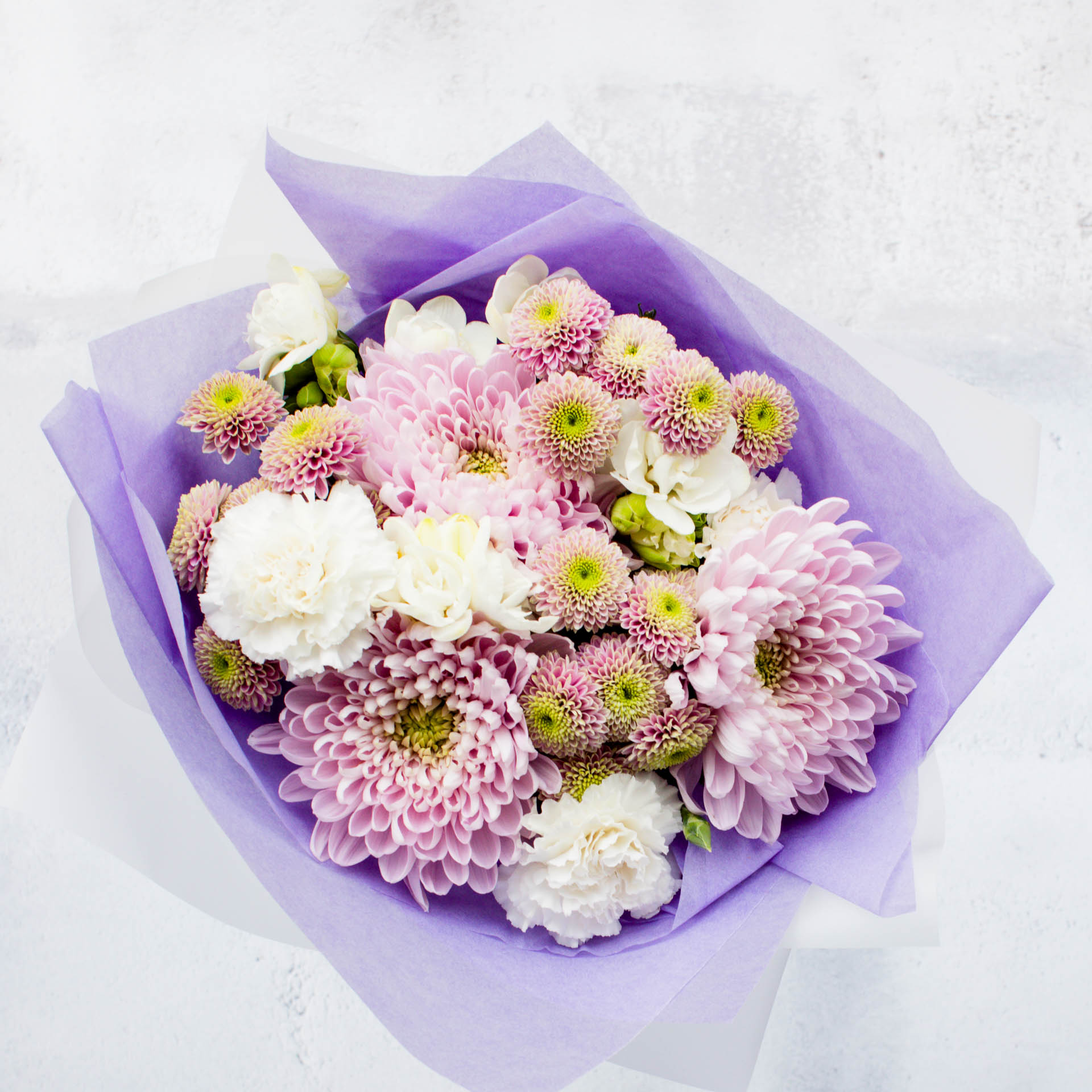 purple floral bouquet with chrysanthemums