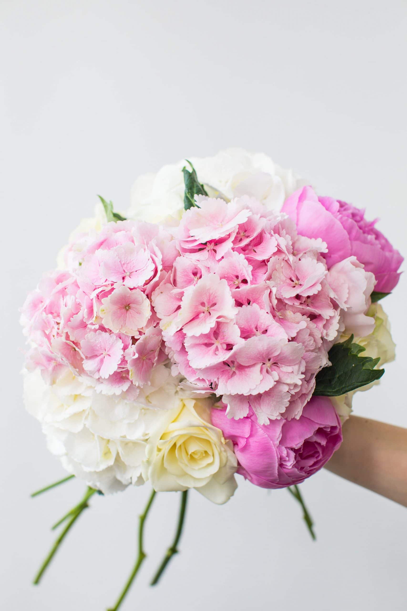 pink hand held bouquet