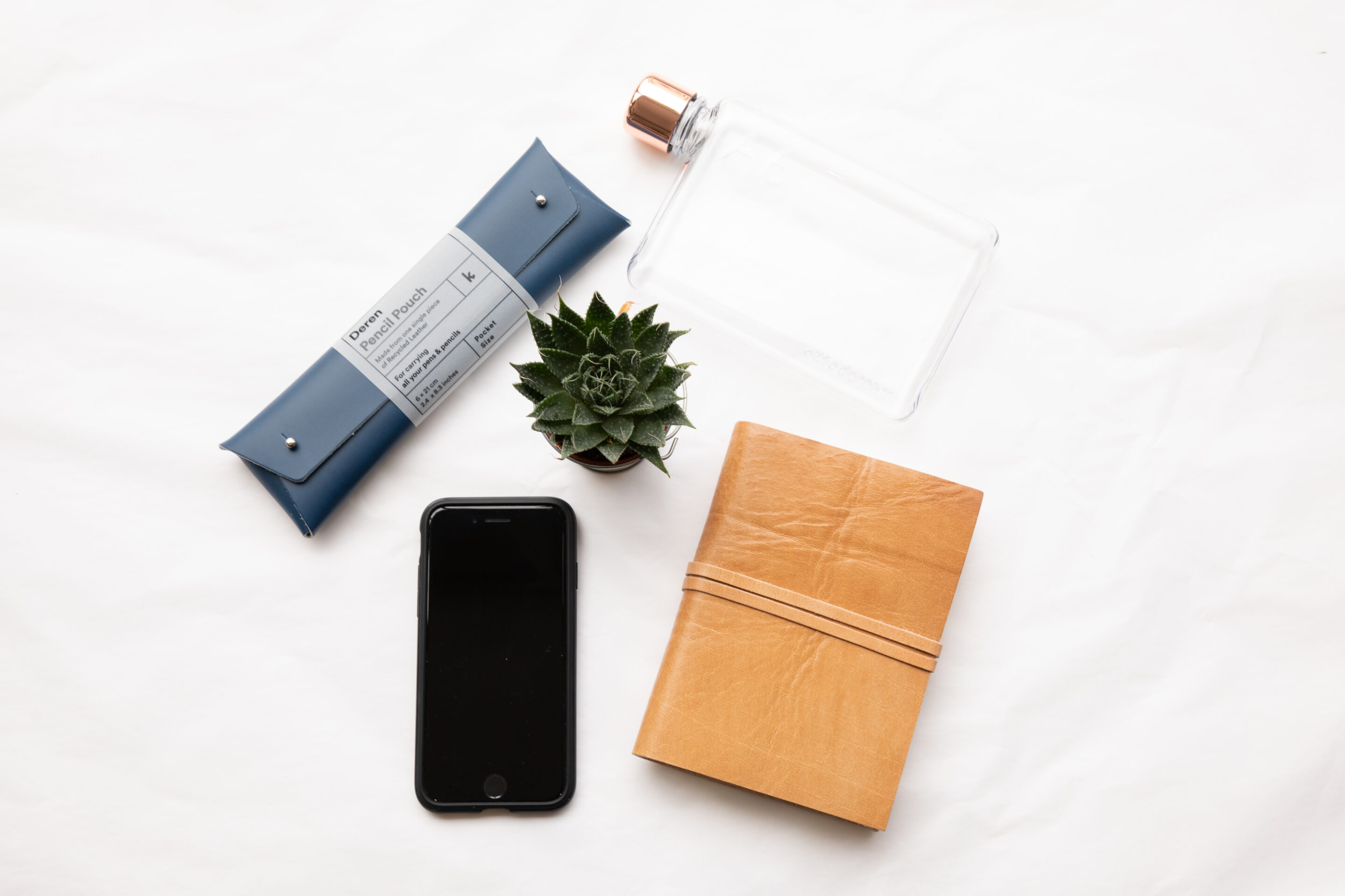 selection of business desk tools - phone, diary, plant, pencil case, water bottle