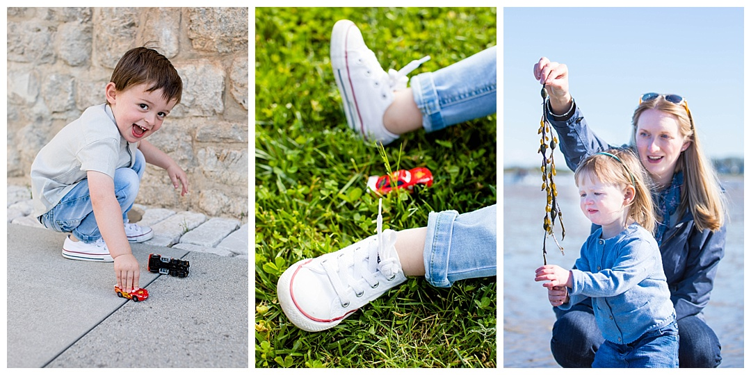 Little boy with toy cars, little feet in converse with toy cars, mother-daughter playing with seaweed
