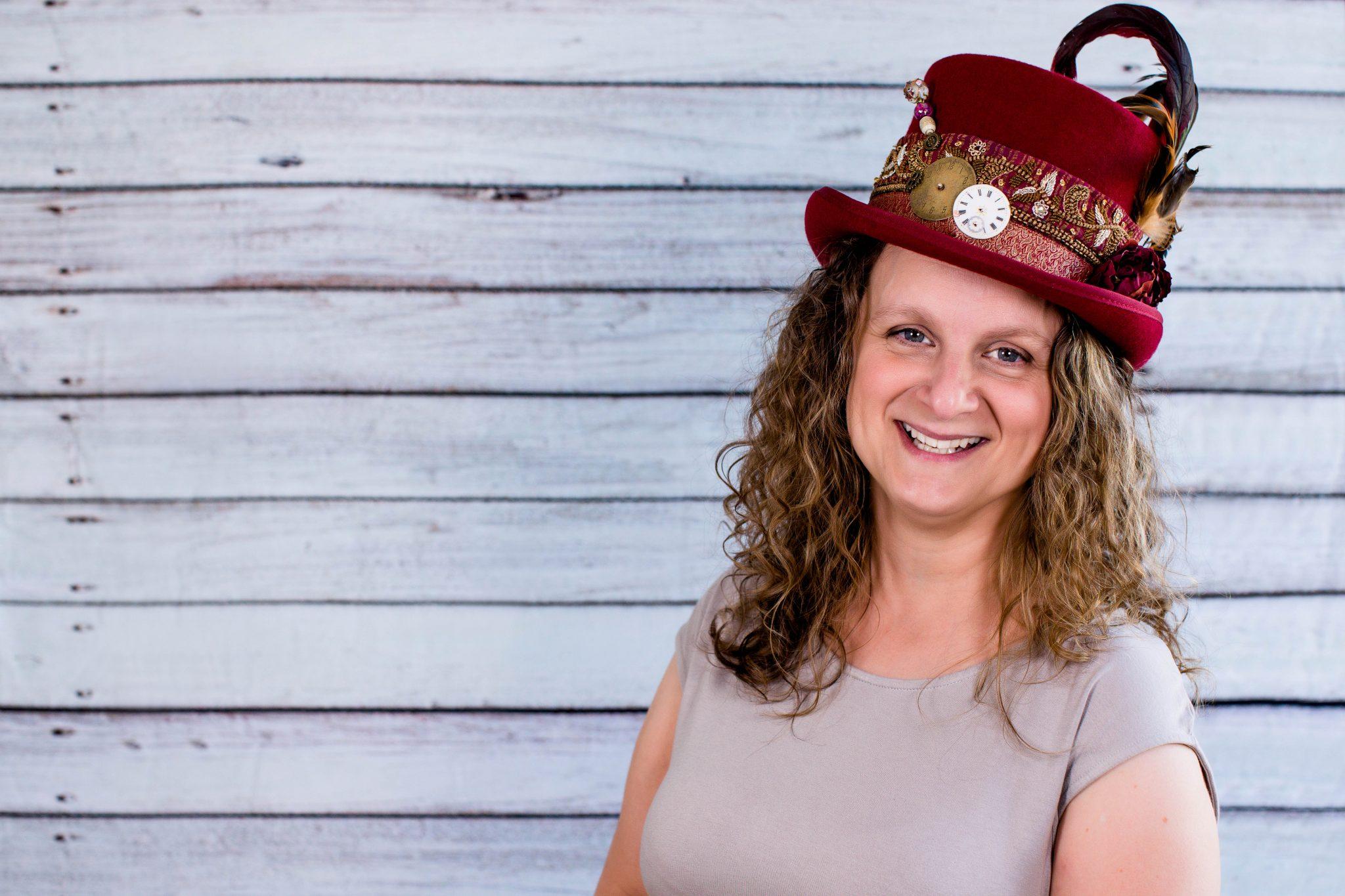 female wearing jaunty hat