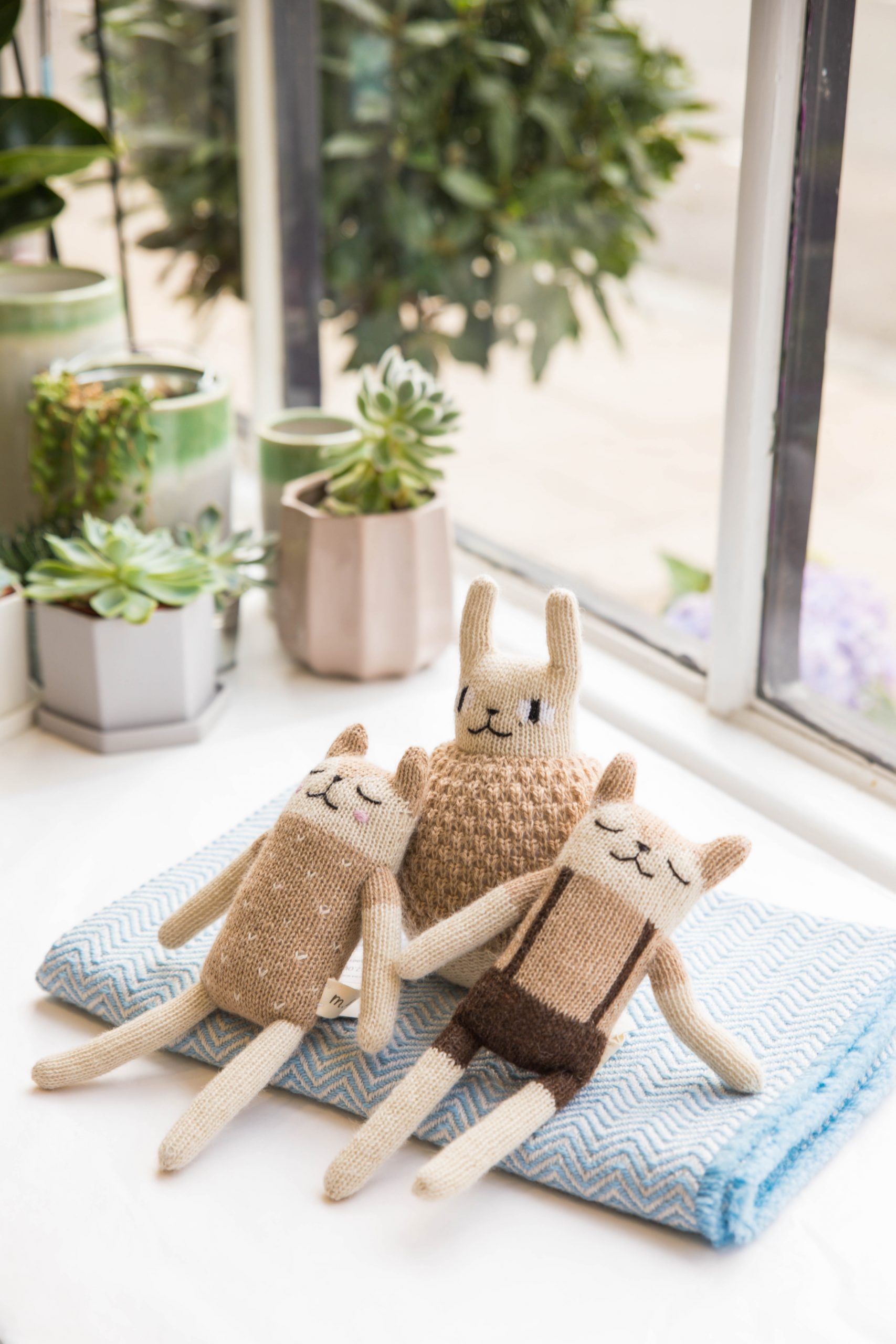 lifestyle product photography of knitted toy giftware