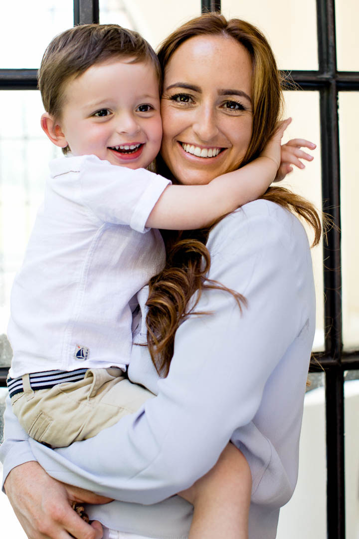 mother and son family portrait hugging