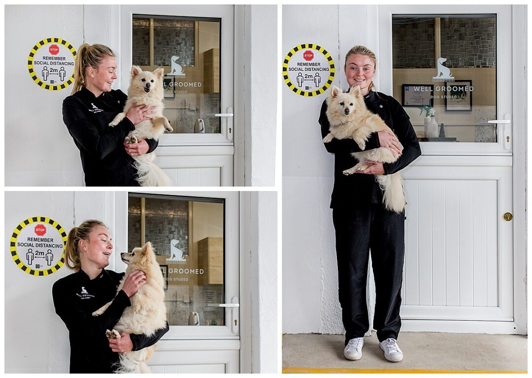 collage of business portraits of dog groomer with dog