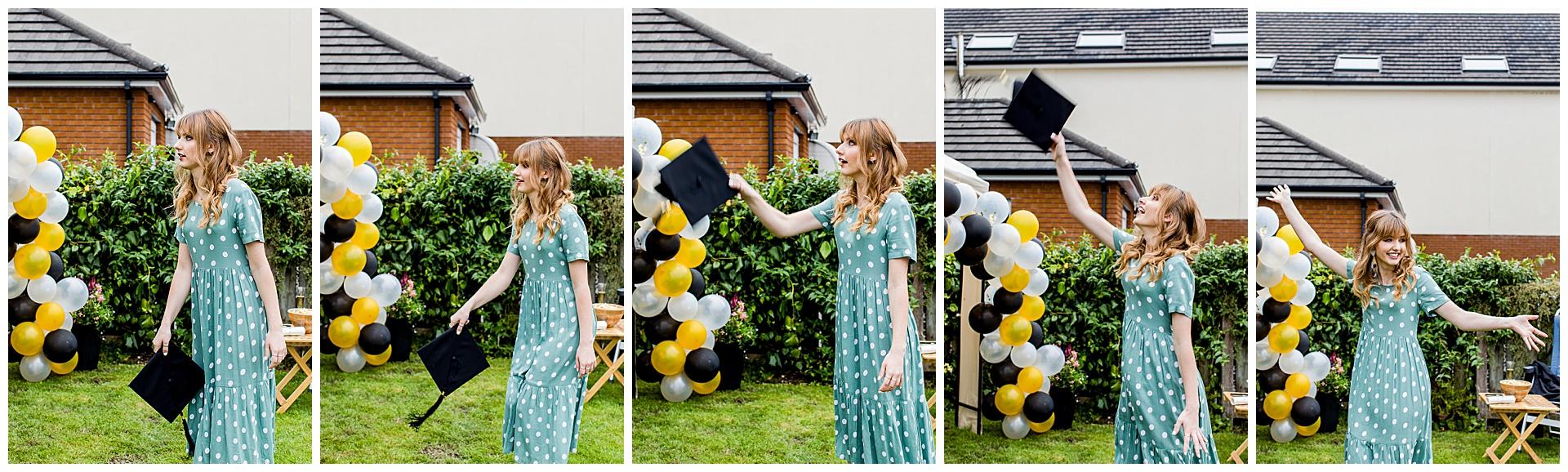 series of photos of female graduate throwing cap in the air