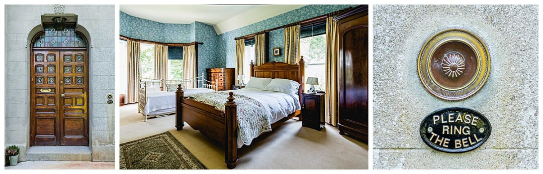 commercial photography of period B&B bedroom interior and exterior details
