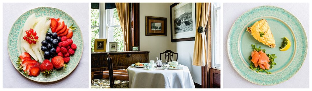commercial photography of period B&B dining room and breakfast food