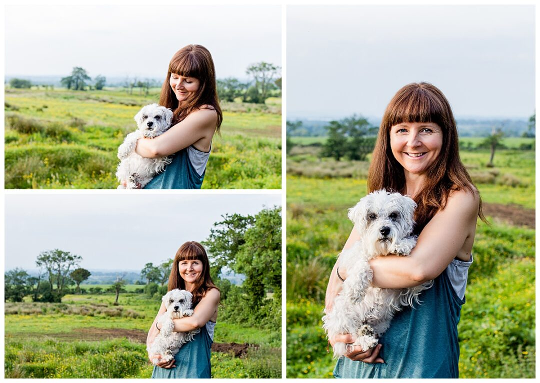 outdoor portrait of wellness business owner with dog